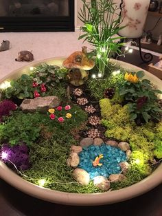 My fairy garden! I made the stepping stones, mushrooms, roses, and goldfish with polymer clay.