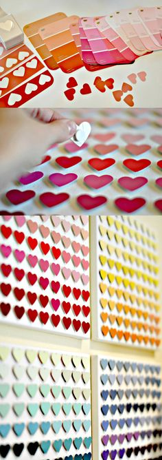 punch hearts from paint chips. attach small adhesive foam circles.  frame and hang.