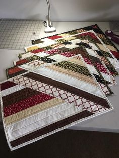 Quilted placemats using jelly rolls