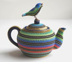 Jan Huling  Pretty Pot  Ceramic, metal, wood, wire, glass beads, ball chain, rhinestones