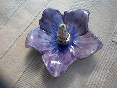 Hibiscus ring holder purple flower ring by BlueButterflyCrafts
