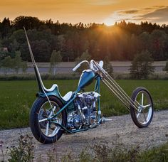Vintage Motorcycles Knucklehead hardtail custom skinny chopper with tall sissy bar, molded king-queen seat, invade rims and long springer front end Sportster Chopper, Chopper Motorcycle, Motorcycle Design, Bike Design, Motorcycle Garage, Motorcycle Humor, Motorcycle Posters, Custom Choppers, Custom Harleys