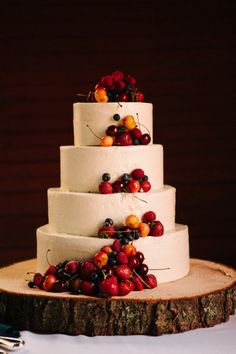 Wedding cake with fresh fruit