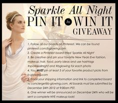 Win A Complete NYE Makeup Look In Our Pinterest Giveaway! Follow ALL The Steps!  #sparkleallnight  #bglowing