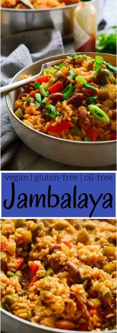 Vegan Jambalaya with Beans and Mushrooms #plantbased #glutenfree #oilfree