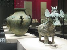 Bronze artifacts from the Shang Dynasty BC) are showcased at the Chengdu Museum on Tianfu Square in Chengdu, Sichuan, China. Sichuan China, Chengdu, Antiquities, Chinese, Museum, Bronze, Decor, Decorating, Dekoration