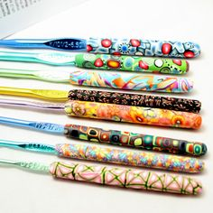 Polymer clay covered crochet hook set