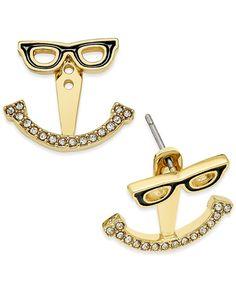 kate spade new york 14k Gold-Plated Eyeglass Stud Earring Jacket Earrings