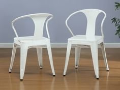 @Overstock - These stacking chairs come in a white color option and have a sturdy steel construction. The polished finish on this set of four chairs is both mar and scratch resistant.http://www.overstock.com/Home-Garden/White-Tabouret-Stacking-Chairs-Set-of-4/5095636/product.html?CID=214117 $152.99