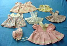 7 Vintage 1930's Dolls Dresses and Bonnet. by chalcroft on Etsy, $12.00