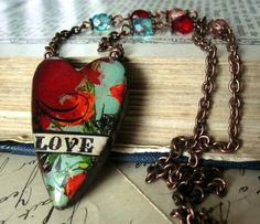 Love Heart Polymer Clay Necklace Glass Beads Copper Chain