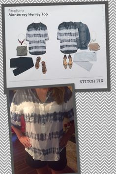 #Stitchfix 3 Monterrey Henley Top. Awful fit, arm opening weird...not good. Plus my husband said the pattern looks like a grave yard fence. Now that's sexy! Returned.