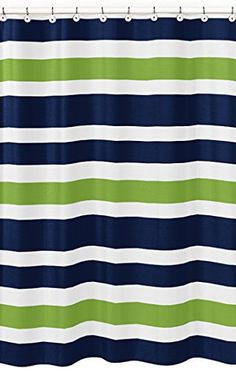 Navy Blue, Lime Green And White Kids Bathroom Fabric Bath Stripes Shower  Curtain Sweet Jojo