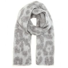 Stella McCartney Printed Mohair and Wool-Blend Scarf ($520) ❤ liked on Polyvore featuring accessories, scarves, grey, grey shawl, gray shawl, grey scarves, stella mccartney and gray scarves
