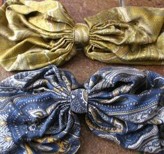 80s VINTAGE 13 inch silk scarf Eve Reid hair bow barettes. Lot of two. Neiman Marcus tag still on! $20.00
