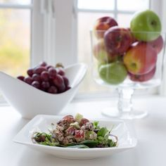 Harvest Waldorf Salad. Crisp apples, juicy red grapes, dates, & crunchy pecans mixed with goat cheese & syrupy balsamic dressing