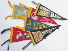 6 Vintage Souvenir Pennants Maryland Colorado by ShabbyVintageHome, $22.00
