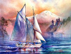 Setting Sail in the Puget Sound Watercolor door MichaelDavidSorensen