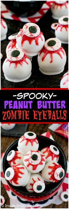 Peanut Butter Zombie Eyeballs - candy eyes and oozing red gel frosting give these no bake treats a spooky flair. Great recipe for Halloween parties!