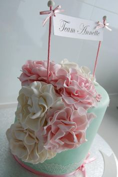 "Very girly! LOVE LOVE LOVE @ Hannah Heinl...this would go great for a bridal shower...you could go with an afternoon tea at tiffanys kinda theme!!!! Or add it to your ""pink"" shower!!!!"