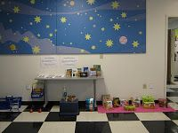 """Manos pequeñas, ideas grandes / Little Hands, Big Ideas.  Bilingual and interactive discovery center program around the theme of """"Grocery Store.""""  Pictures of each station and all materials/instructions are available on the blog to download and use."""