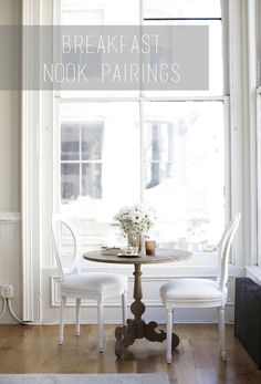 trying to figure out the perfect chair + table pairings for my breakfast nook...