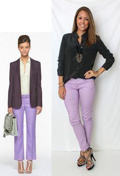 Lavender + dark neutrals.