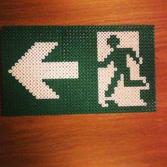 Exit sign hama perler beads by originalbeads99