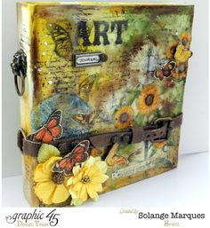 Art Journal cover by Solange Marques, Graphic 45 Mixed Media Album