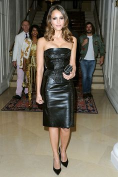 Jessica Alba is head-to-toe in Versace at the Versace Haute-Couture show during Paris Fashion Week Fall/Winter on July 1, 2012 in Paris, France.