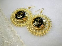 Black Golden Anchor Button Earrings With Big by SaveTheNature, $8.80
