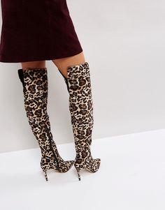 KG By Kurt Geiger Leopard Heeled Knee High Boots - Beige
