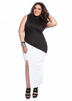 Color Block Double Split Maxi Style: 3797X Viva la black-and-white trend! Plus size dress features a turtle neckline that leads to a sleeveless design, an allover contrasting color design, and is finished with a front slit detail.