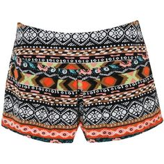 Ribbon Tribal Shorts ($10) ❤ liked on Polyvore featuring shorts, bottoms, pants, multi, tribal shorts, high-rise shorts, high-waisted shorts, tribal print shorts and highwaist shorts