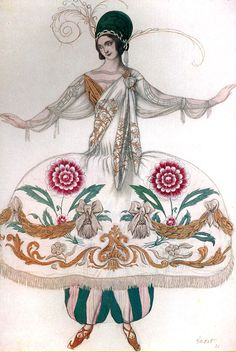 Costume Design by Leon Bakst for Ballet Russe, 1921 Russian Ballet, Russian Art, Fashion History, Fashion Art, Ivan Bilibin, Louise Brooks, Theatre Costumes, Art Graphique, Dance Art