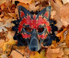 READY TO SHIP Autumn Leaf Wolf Leather Mask . Liquitex Acrylic Paint, Wolf Mask, Cool Masks, Classic Theme, Leather Mask, Masquerades, Leather Carving, Hand Shapes, Theme Parties