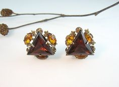 Vintage Rhinestone Earrings Beau Jewels Signed by bohemiantrading, $22.00