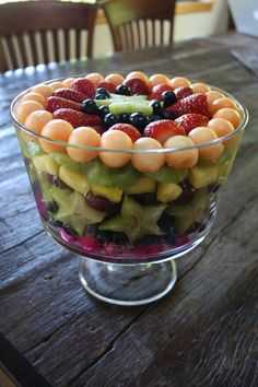 Fruit salad layered in trifle bowl