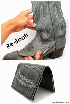 Repurpose: Cowboy boot wallet/purse #upcycle