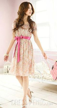 Discount Bow Knot Round Neckline Short Sleeve Chiffon Petty Flowers Dress, Short