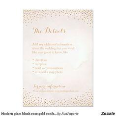 Modern glam blush rose gold confetti detail card