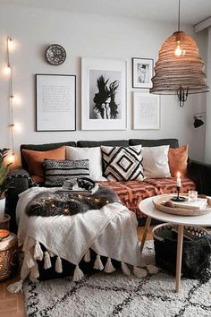 ✔ 100 brilliant solution small apartment living room decor ideas and remodel 54 - New Site Boho Living Room, Cozy Living Rooms, Interior Design Living Room, Living Room Designs, Living Room Decor, Bedroom Decor, Bohemian Living, Bedroom Ideas, Boho Chic Bedroom