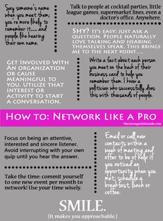 Go to http://www.williamotoole.com for free mlm training. How to network like a pro. It's great seeing that I have used some of these tips when attending networking events. What I haven't done but should keep in mind, is writing a fact down about each person I meet on the back of their business card. It helps you remember people you meet at the event. http://franchise.avenue.eu.com/