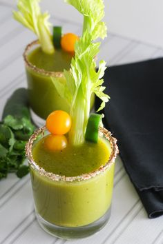 Green Bloody Mary | Made with tomatillos, yellow & green tomatoes and jalapeno infused vodka. @Platingspairing