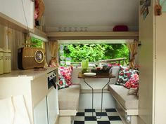 Interior design research for dream car.  Pros: Diner style floor, retro radio  Cons: Too much white and the fact it's not my campervan  Overall: Fabulous design, great taste. Adding checkerboard floor to list, yes