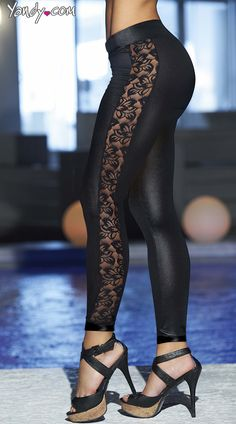 Wet Look and Lace Leggings, Shiny Leggins with Lace Sides, Vinyl and Lace Leggings