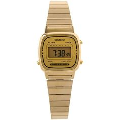 Casio Wrist Watch (£44) ❤ liked on Polyvore featuring jewelry, watches, accessories, gold, stainless steel wrist watch, casio watches, stainless steel jewelry, casio wrist watch and casio