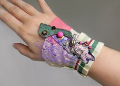 Textile Art Wrist Wide Cuff, Steampunk Bracelet Steampunk Jewelry, Mixed Media Collage Jewelry, Fabric Bracelet, Assemblage Jewelry Bracelet by Elyseeart on Etsy https://www.etsy.com/listing/238630611/textile-art-wrist-wide-cuff-steampunk