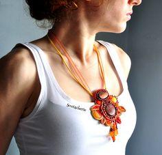 Urban and hip jewelry for the free spirits by Soutacherie Bold Jewelry, Funky Jewelry, Statement Jewelry, Jewellery, Unique Jewelry, Bohemian Necklace, Bohemian Jewelry, Orange Necklace, Soutache Necklace