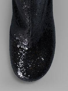 MAISON MARTIN MARGIELA WOMEN'S BLACK GLITTER ANKLE BOOTS